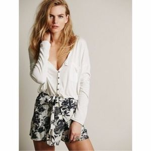 Free People Sarong Shorts Wrap Skirt Floral Black